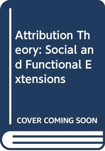 9780631133223: Attribution Theory: Social and Functional Extensions