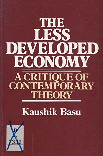 The Less Developed Economy: A Critique of Contemporary Theory: Basu, Kaushik