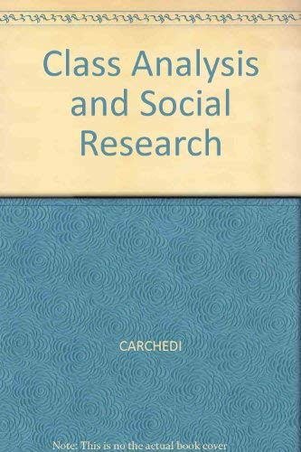 9780631154839: Class Analysis and Social Research