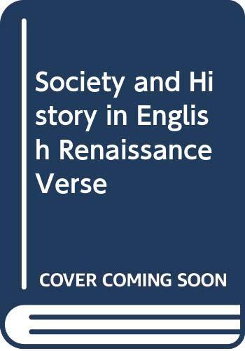 9780631156833: Society and History in English Renaissance Verse
