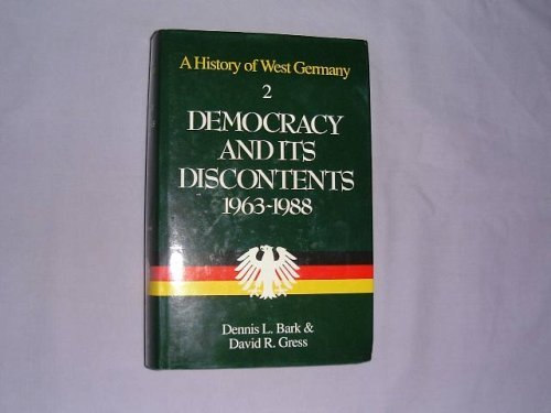 9780631167884: A History of West Germany: Democracy and Its Discontents, 1963-88 v. 2