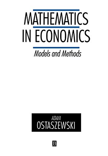 9780631180562: Mathematics in Economics: Models and Methods