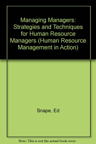 9780631186755: Managing Managers: Strategies and Techniques for Human Resource Management