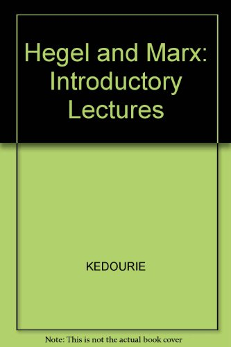 9780631193227: Hegel and Marx: Introductory Lectures