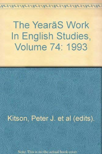 The Year's Work in English Studies: Kitson, Peter J. And Elaine Treharne Eds.