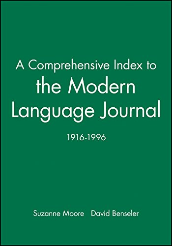 9780631218272: A Comprehensive Index to the Modern Language Journal: 1916-1996 (Modern Language Journal Index)
