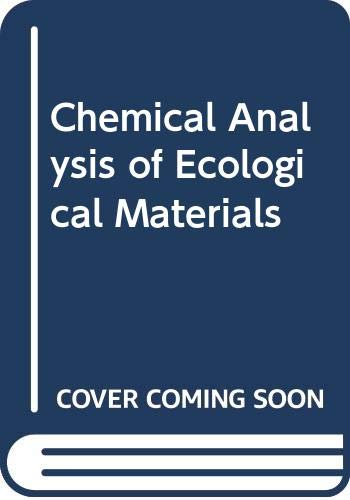 9780632017423: Chemical Analysis of Ecological Materials