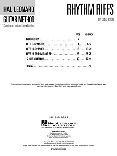 9780634048487: Rhythm Riffs: Over 200 Riffs in All Styles Hal Leonard Guitar Method (Hal Leonard Guitar Method (Songbooks))