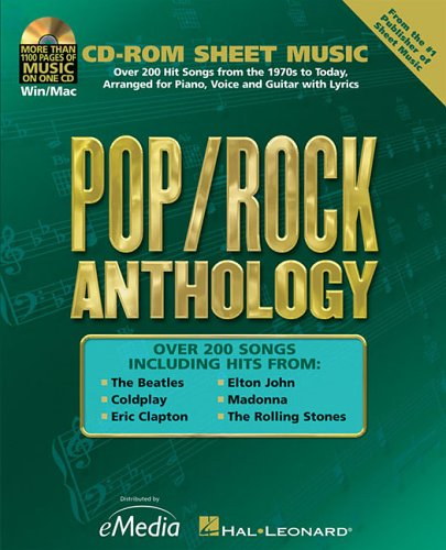 9780634089220: Pop/rock Anthology: Cd-rom Sheet Music Series, Over 200 Hit Songs fromt he 1970s to Today, Arranged for Piano, Voice and Guitar with Lyrics