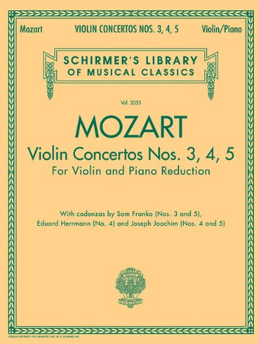 9780634096815: Violin Concertos Nos. 3, 4, 5: for Violin and Piano Reduction