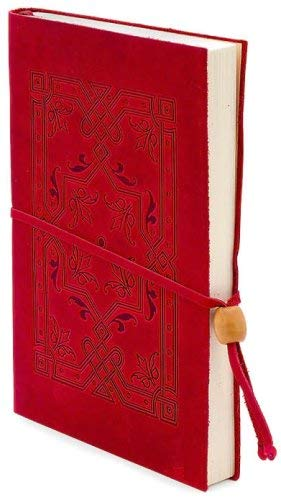 9780641623202: Embossed Red Italian Leather Journal with Bead Tie