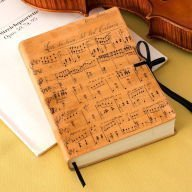 9780641737039: Duchessa Music Notes Italian Printed Leather Journal with Tie (6