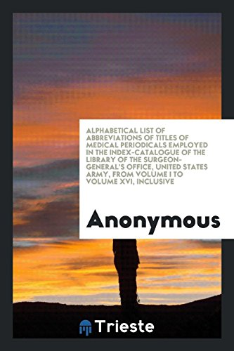Alphabetical List of Abbreviations of Titles of: Anonymous