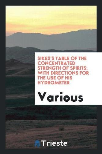 Sikes s Table of the Concentrated Strength: Various