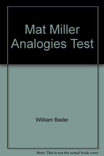 9780668049894: MAT, Miller analogies test