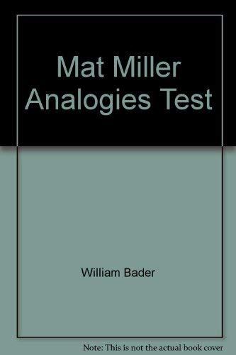 9780668049894: MAT, Miller analogies test