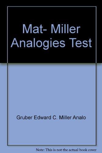 9780668049900: Mat, Miller Analogies Test