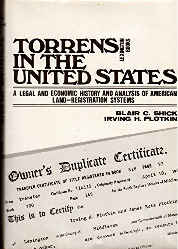 9780669026665: Torrens in the United States: Legal and Economic History and Analysis of American Land-registration Systems