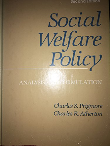 9780669067453: Social Welfare Policy: Analysis and Formulation