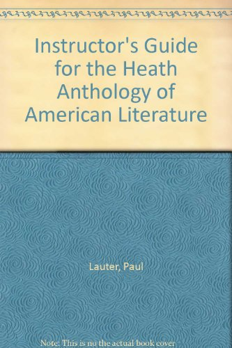 9780669120660: Instructor's Manual for the Heath Anthology of American Literature