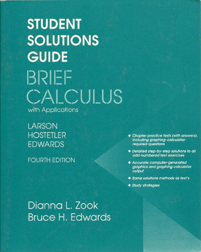 9780669351675: Student Solutions Guide to Accompany Brief Calculus With Applications