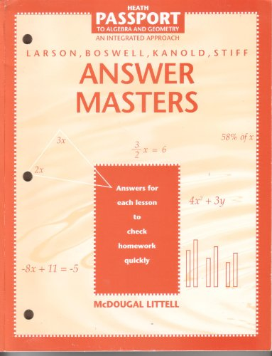 Answer Masters (Passport to Algebra and Geometry an Integrated Approach): McDougal Littell