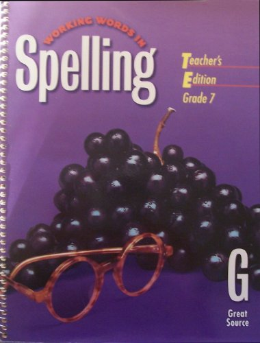 9780669459579: Great Source Working Words in Spelling: Teacher's Edition (Level G) 1998