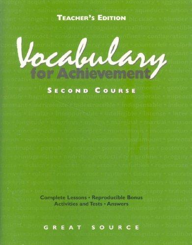 Vocabulary for Achievement, 2nd Course, Grade 8: Margaret Ann Richek;