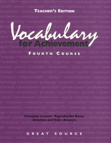 9780669464887: Vocabulary for Achievement: Fourth Course, Teacher's Edition