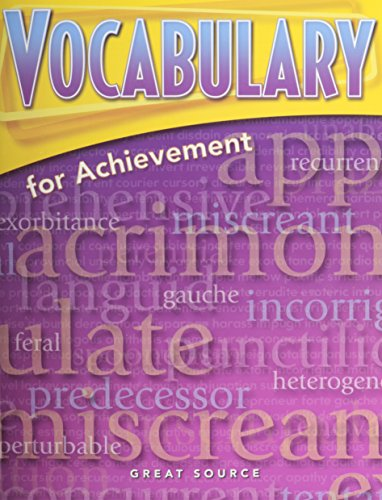 9780669517583: Great Source Vocabulary for Achievement: Student Edition Grade 10 Fourth Course 2006
