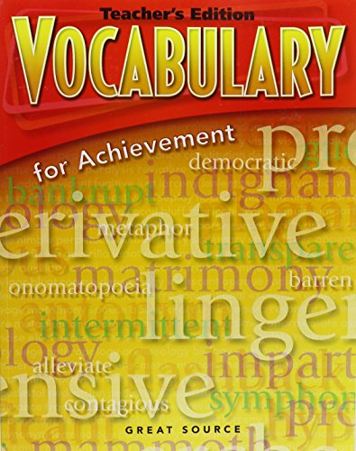 9780669517613: Great Source Vocabulary for Achievement: Teacher Edition Grade 6 Intro Course