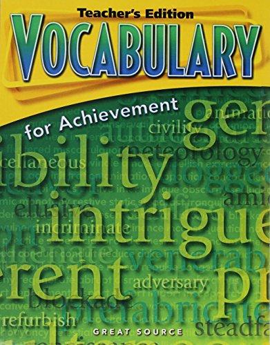9780669517637: Vocabulary for Achievement: Teacher's Edition Grade 8 Second Course 2006