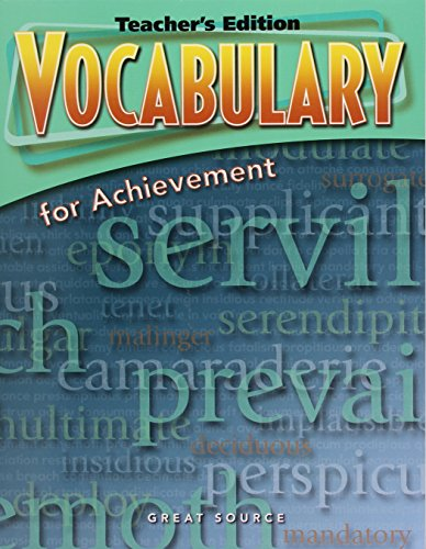 Vocabulary for Achievement, 5th Course (Teacher's Edition): GREAT SOURCE
