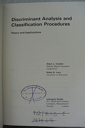 9780669831474: Discriminant analysis and classification procedures: theory and applications