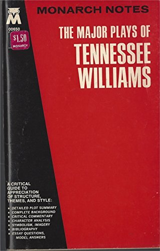 9780671006501: The Major Plays of Tennessee Williams: Cat on a Hot Tin Roof/the Glass Menagerie/Orphedeus Descending/a Streetcar Named Desire and Others (Monarch notes)