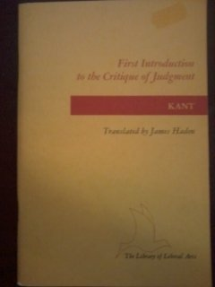 9780672603624: First Introduction to the Critique of Judgment