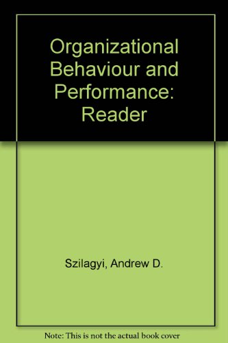 9780673165732: Organizational Behaviour and Performance: Reader