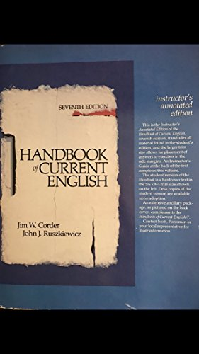 9780673179616: Handbook of Current English [Taschenbuch] by Jim W. Corder, John J. Ruszkiewicz