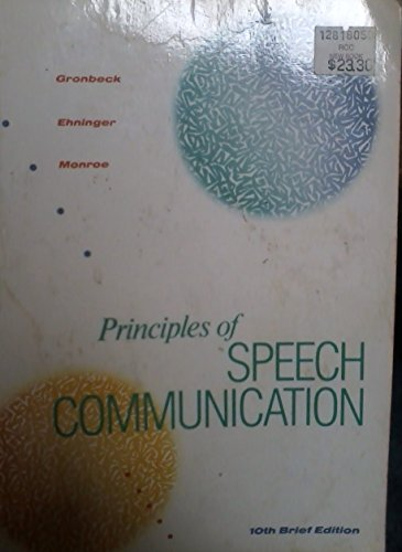 9780673187086: Principles of Speech Communication