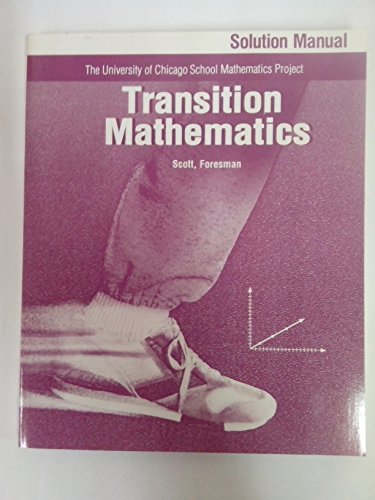 9780673452627: Transition Mathmatics, Solution Manual