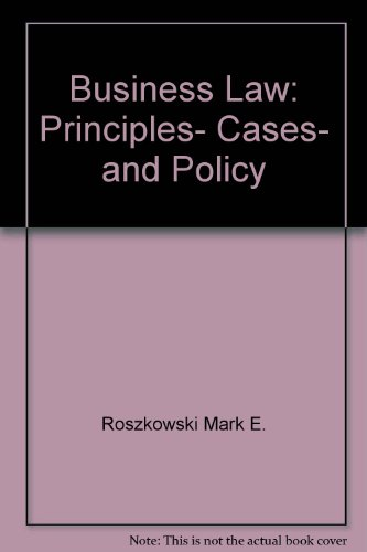 9780673522047: Business Law: Principles, Cases, and Policy