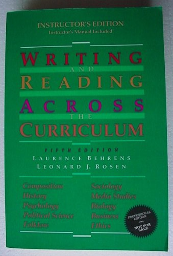 9780673522733: Writing and Reading Across the Curriculum