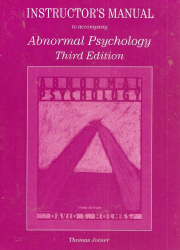 Instructor's Manual to Accompany Abnormal Psychology: Thomas Joiner
