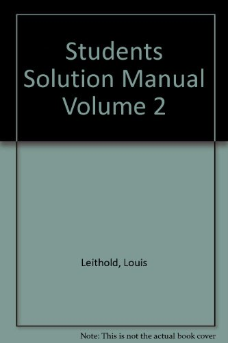 9780673981424: The Calculus Student Solutions Manual Volume 2