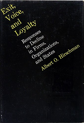 9780674276505: Exit, Voice and Loyalty: Responses to Decline in Firms, Organizations and States