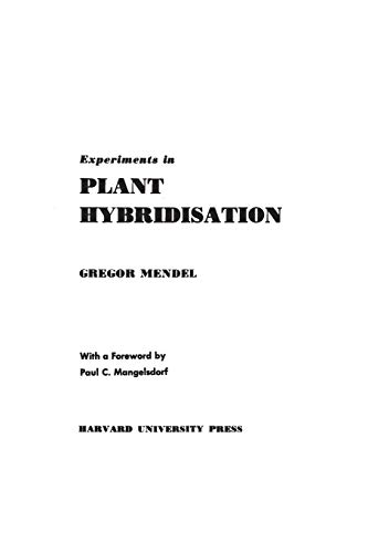 9780674278004: Experiments in Plant Hybridisation