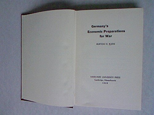 9780674353503: Germany's Economic Preparations for War