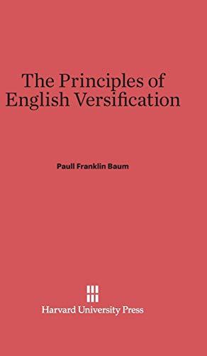9780674730694: The Principles of English Versification
