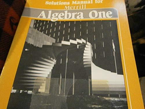9780675052030: Solutions Manual for Merrill Algebra One