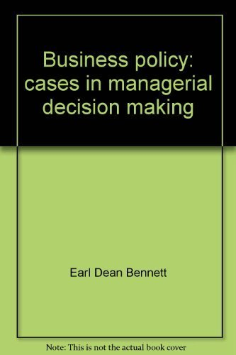 9780675093811: Business policy: cases in managerial decision making